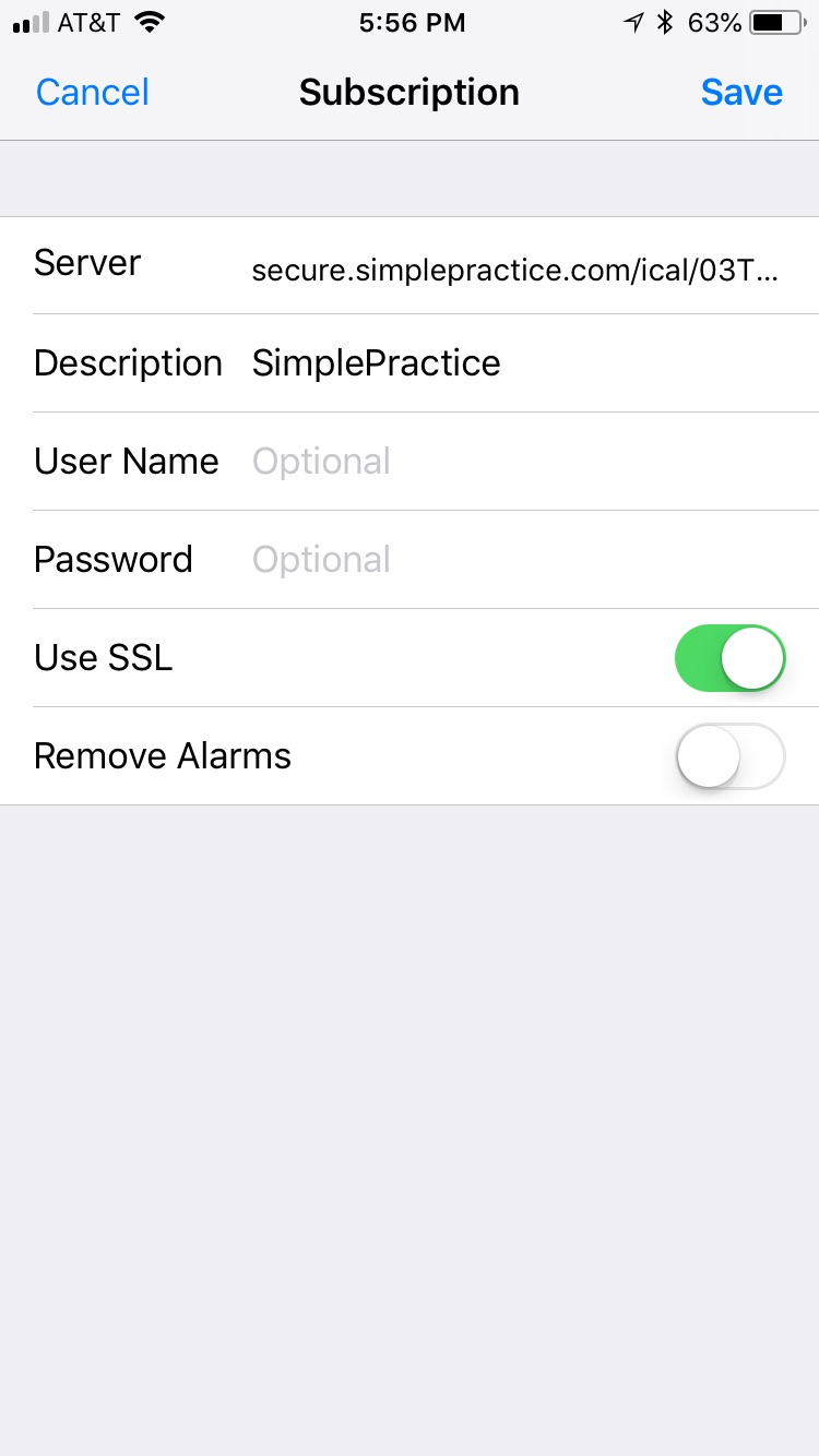 Syncing iCal on iOS 11.4 or later with SimplePractice