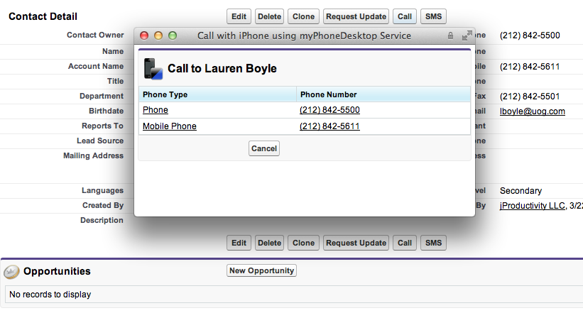 Call your Leads, Contacts and Account with your iPhone