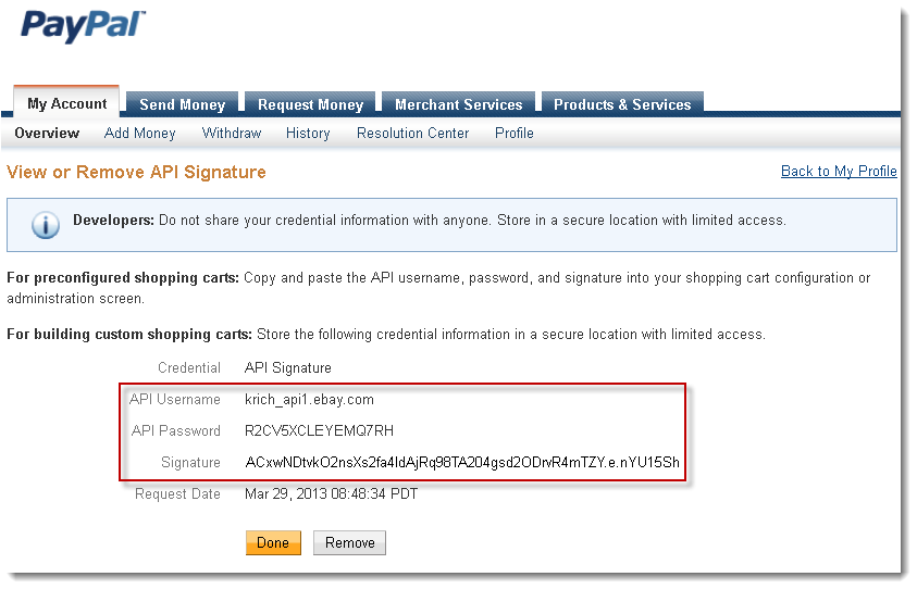 Signature API credential set