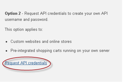 Click Request API Credentials.