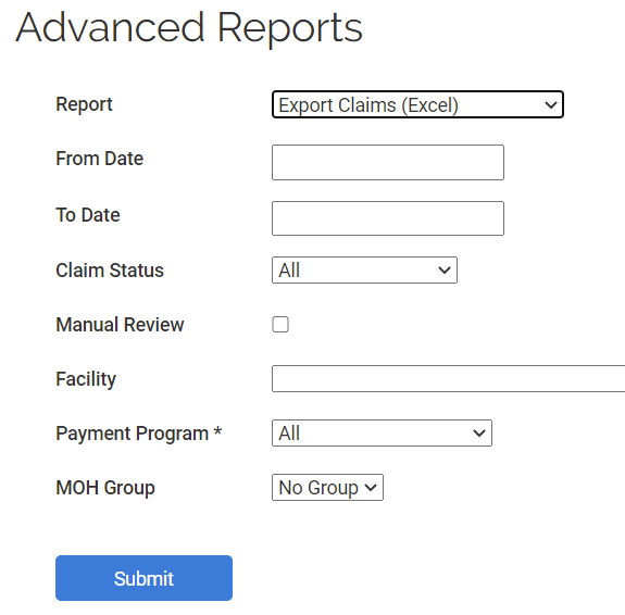 Advanced report selection screen