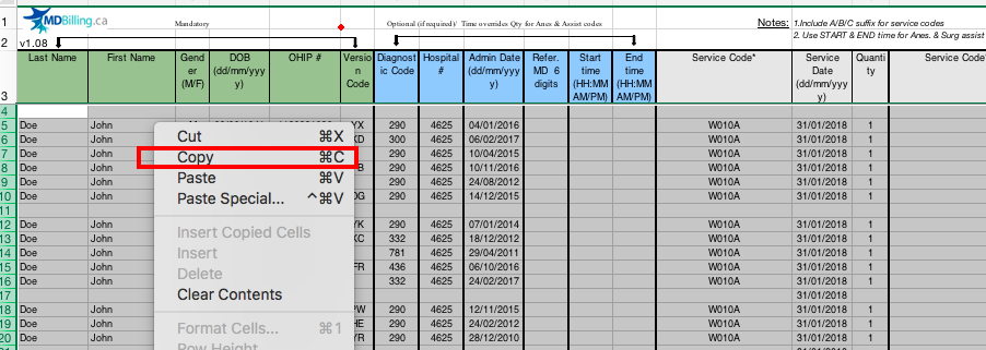 Copy values from an Excel billing sheet template
